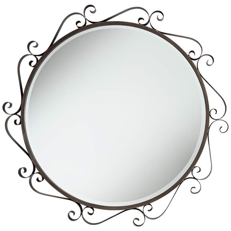 "San Miguel Bronze Iron Scroll 36"" Round Wall Mirror"