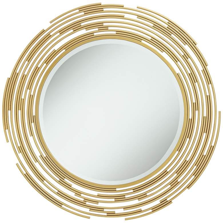 "Rinaldi Gold Iron Layered Pipe 34"" Round Wall Mirror"