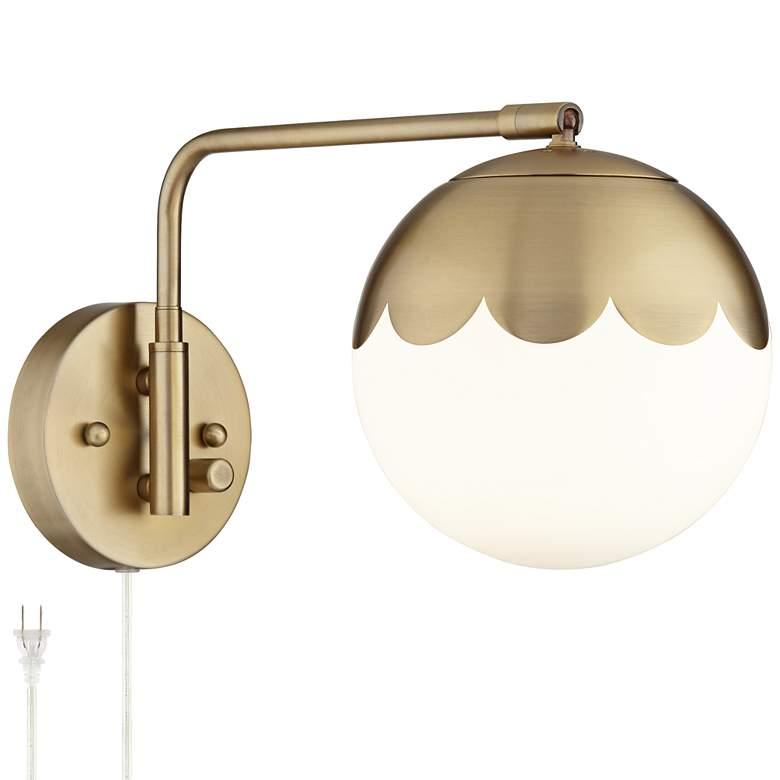 Kelowna Antique Brass Glass Globe Plug-In Swingarm Wall Lamp