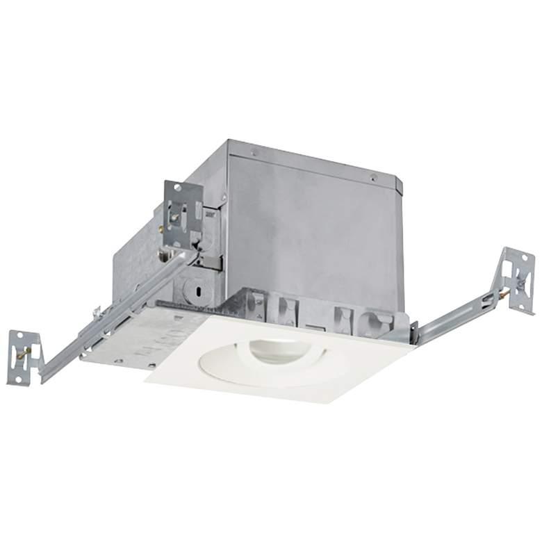 "4"" White 750 Lumen LED Adjustable Square Gimbal Recessed Kit"