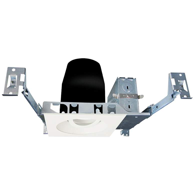 "4"" White 950 Lumen LED Standard Square Gimbal Recessed Kit"