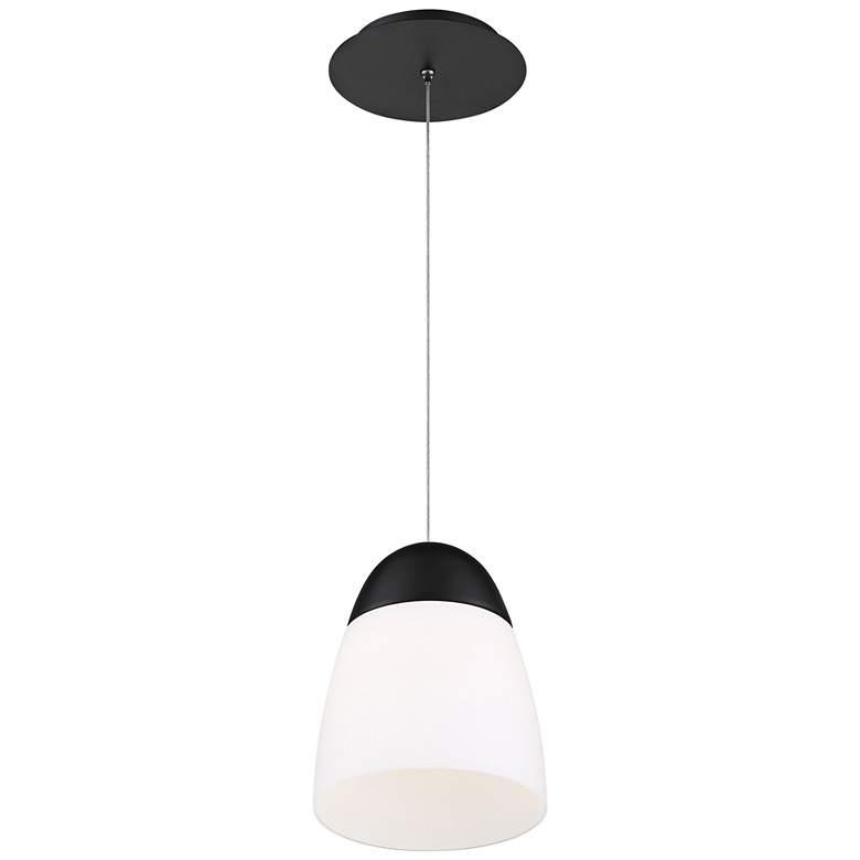 "dweLED Dimple 7"" Wide Black and White LED Mini Pendant"