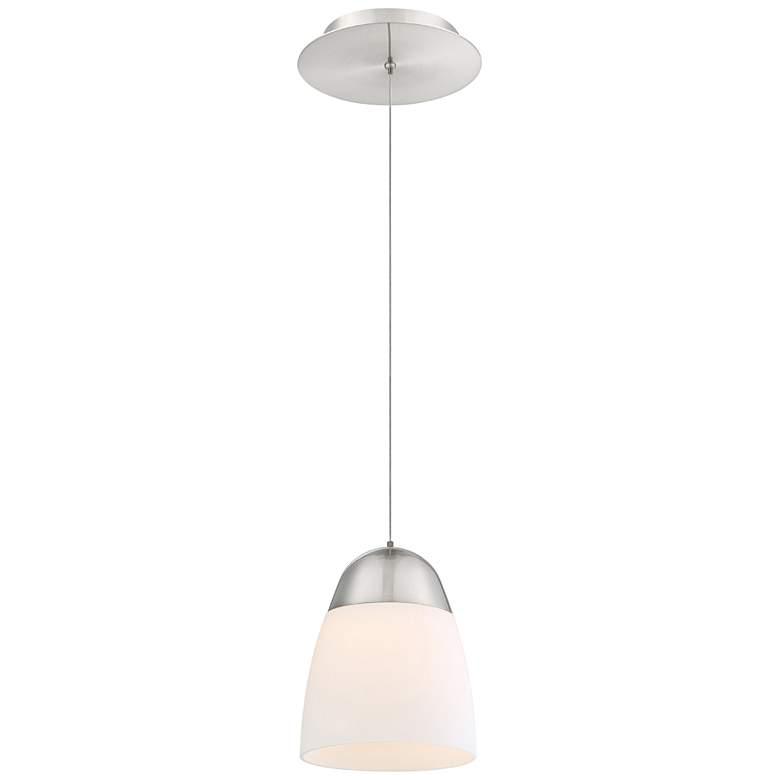 "dweLED Dimple 7""W Brushed Nickel and White LED Mini Pendant"