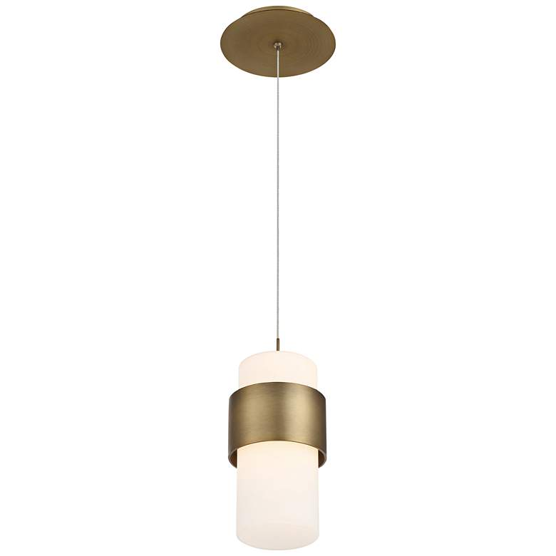 """dweLED Banded 5"""" Wide Aged Brass and White LED Mini Pendant"""