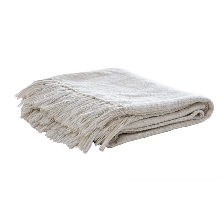 Sonora Natural Beige Hand-Spun Cotton Throw Blanket