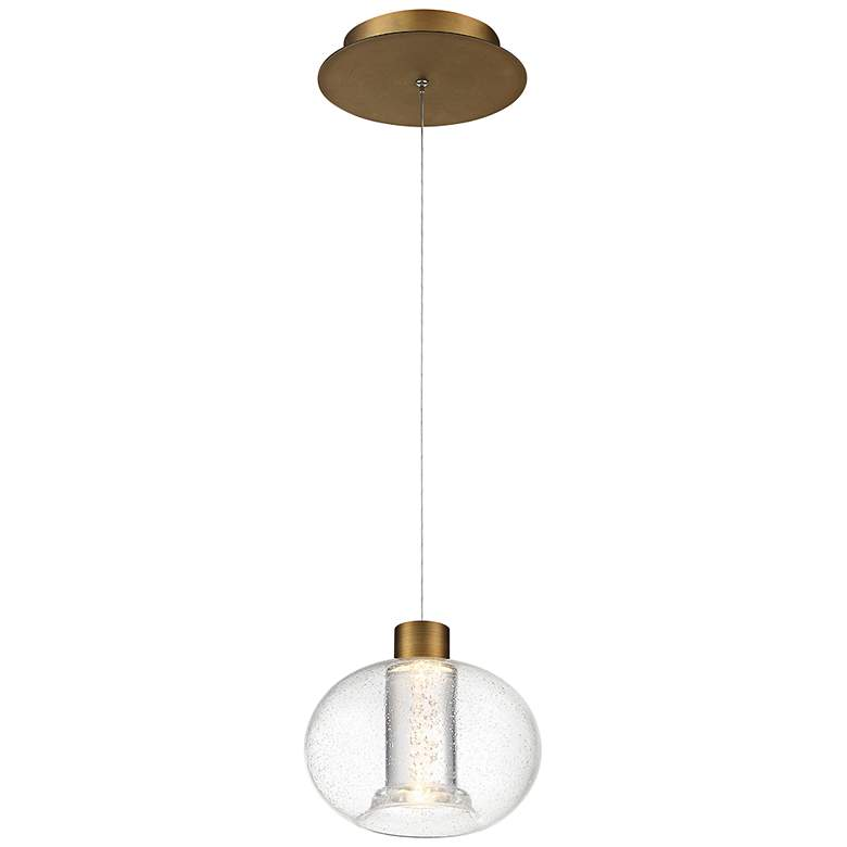"""dweLED Crater 8 1/4"""" Wide Aged Brass LED Mini Pendant"""