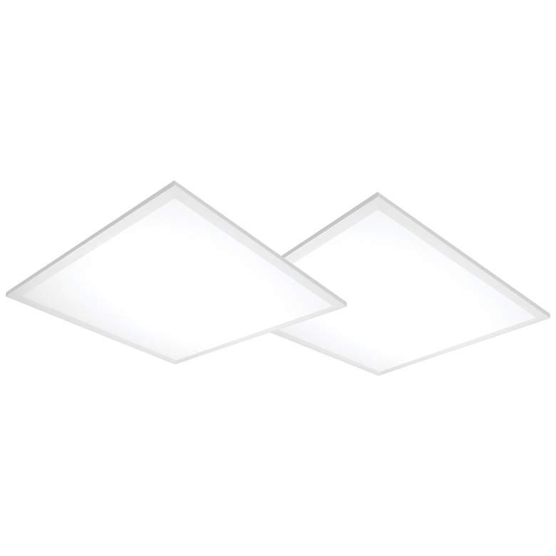 "24"" Square White 4000K LED Lay-in Flat Panel Light Set of 2"