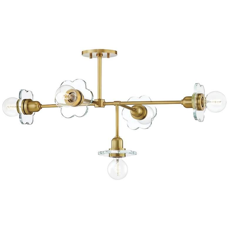 "Mitzi Alexa 36 3/4""W Aged Brass 5-Light Chandelier"