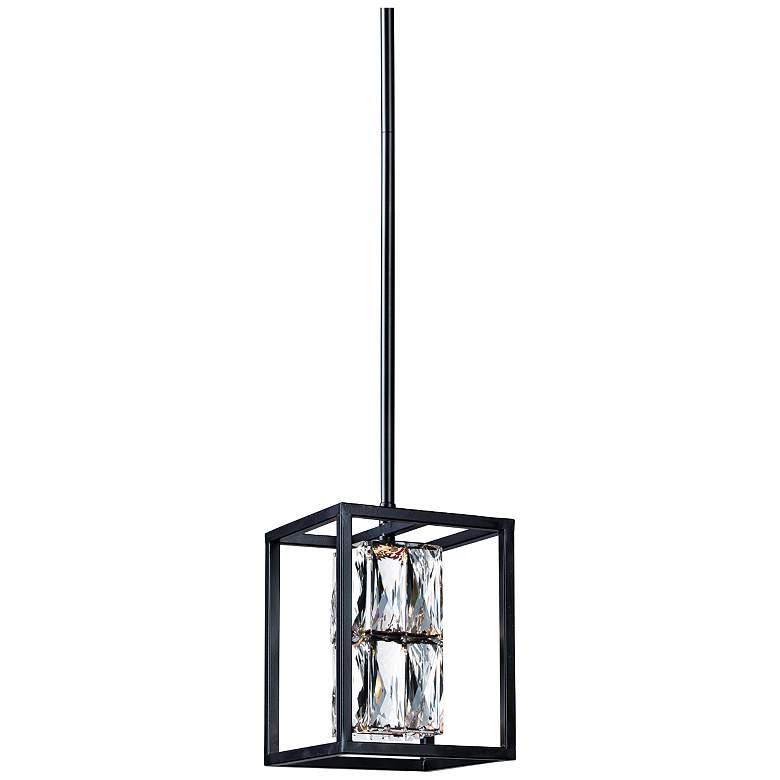 "ET2 Zephyr 6"" Wide Black Crystal LED Mini Pendant Light"