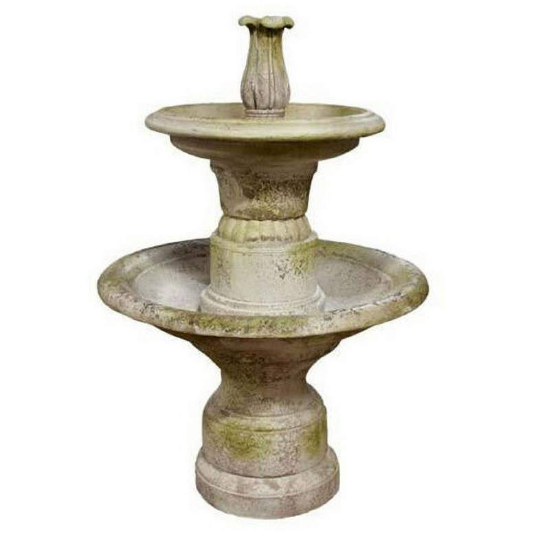 "Orlandi Balustrade 56""H White Moss 2-Tier Outdoor Fountain"