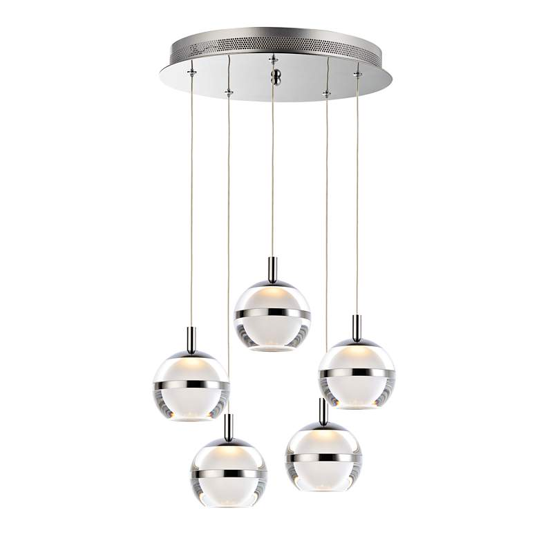 "ET2 Swank 15"" Wide Polished Chrome LED Multi Light Pendant"
