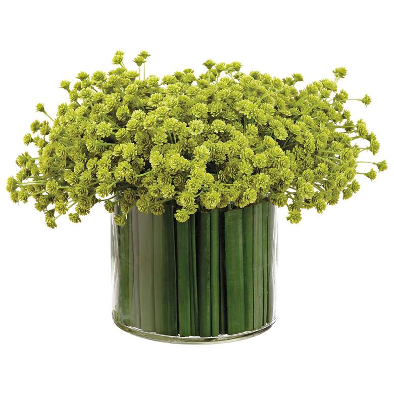 "Baby's Breath and Grass 11"" Wide Faux Flowers in Glass Vase"