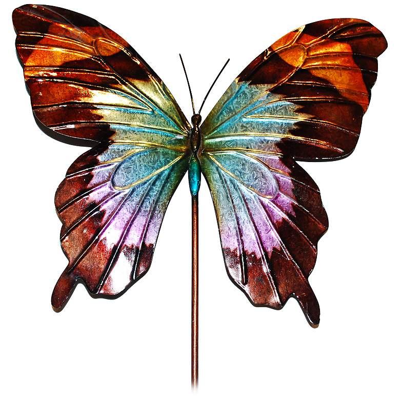 "Eangee Butterfly Blue 24"" High Decorative Garden Stake"