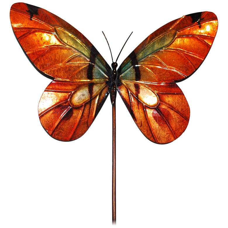 "Eangee Butterfly Orange 24"" High Decorative Garden Stake"