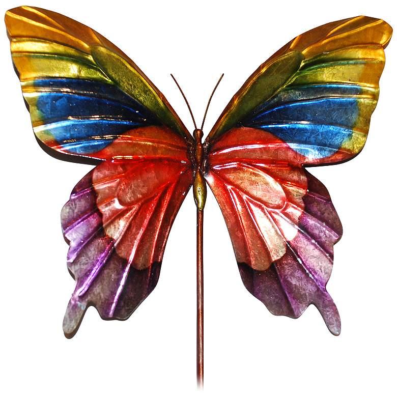 "Eangee Butterfly Rainbow 24"" High Decorative Garden Stake"