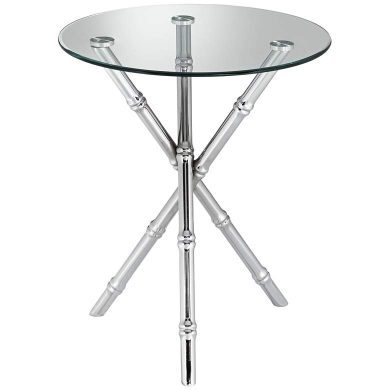 """Bao 17 1/2"""" Wide Round Glass Top Accent Table"""