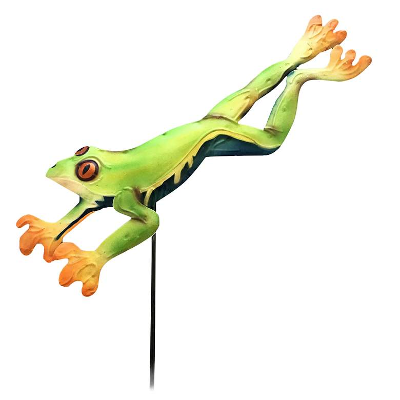 "Eangee Green Frog 25"" High Decorative Garden Stake"