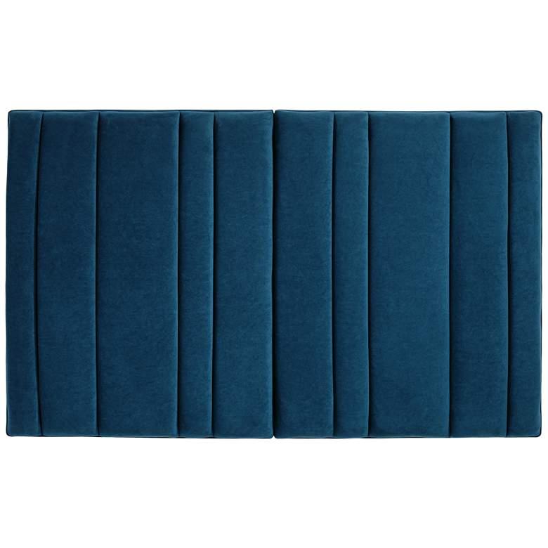 Cadence Channel Tufted Blue Velvet Queen Bed Hanging Headboard