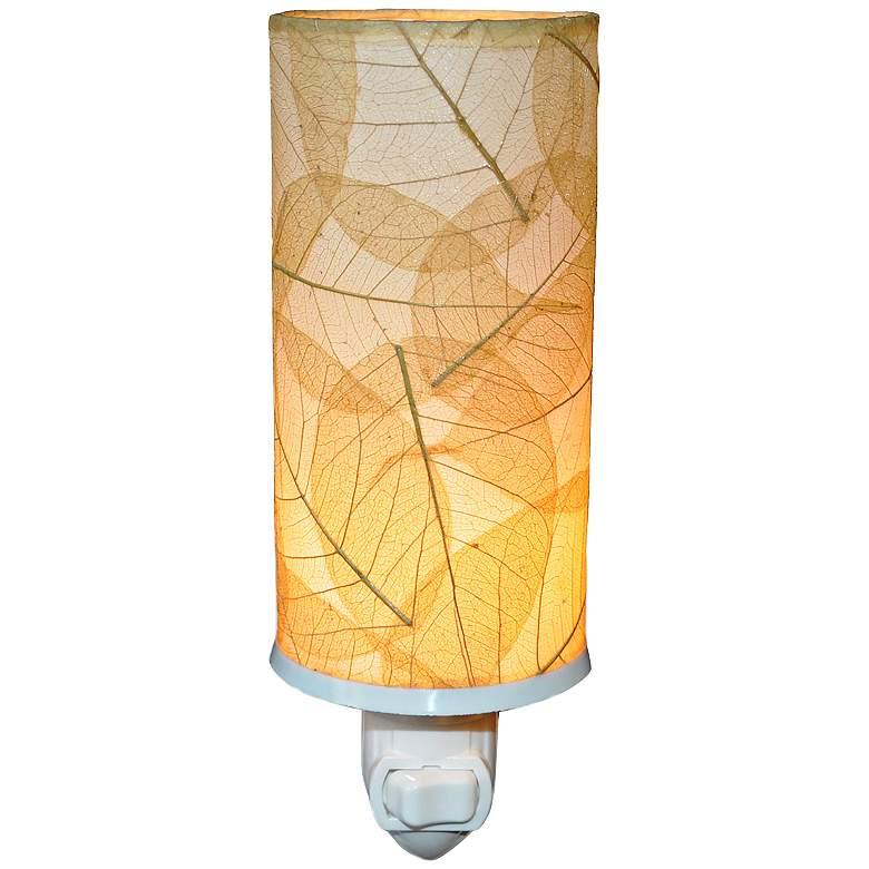"""Eangee Cylinder 7""""H Natural Banyan Leaf Plug-In Night"""
