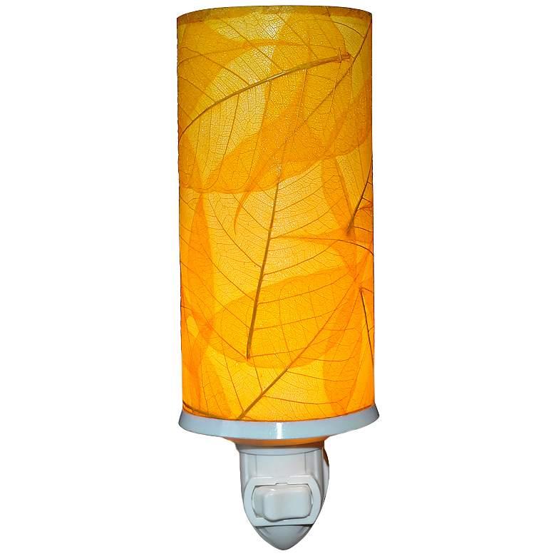 "Eangee Cylinder 7""H Yellow Banyan Leaf Plug-In Night"