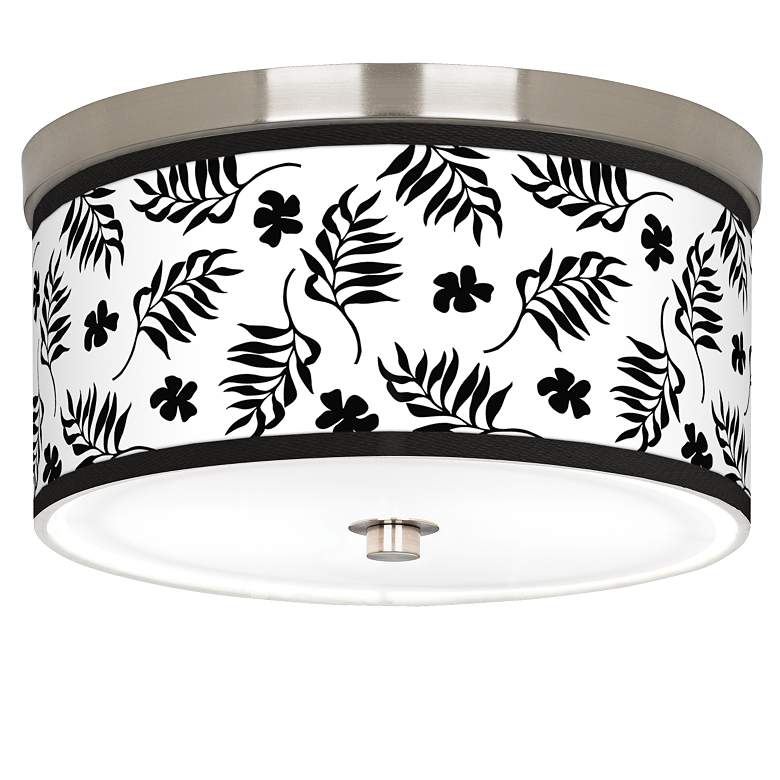 "Floral Fern Giclee Nickel 10 1/4"" Wide Ceiling Light"