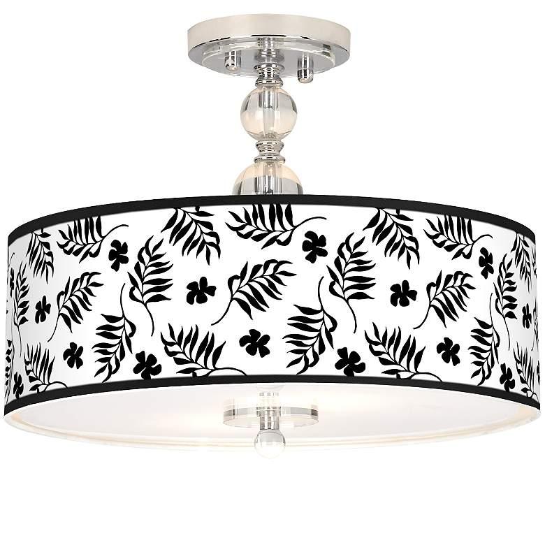 "Floral Fern Giclee 16"" Wide Semi-Flush Ceiling Light"