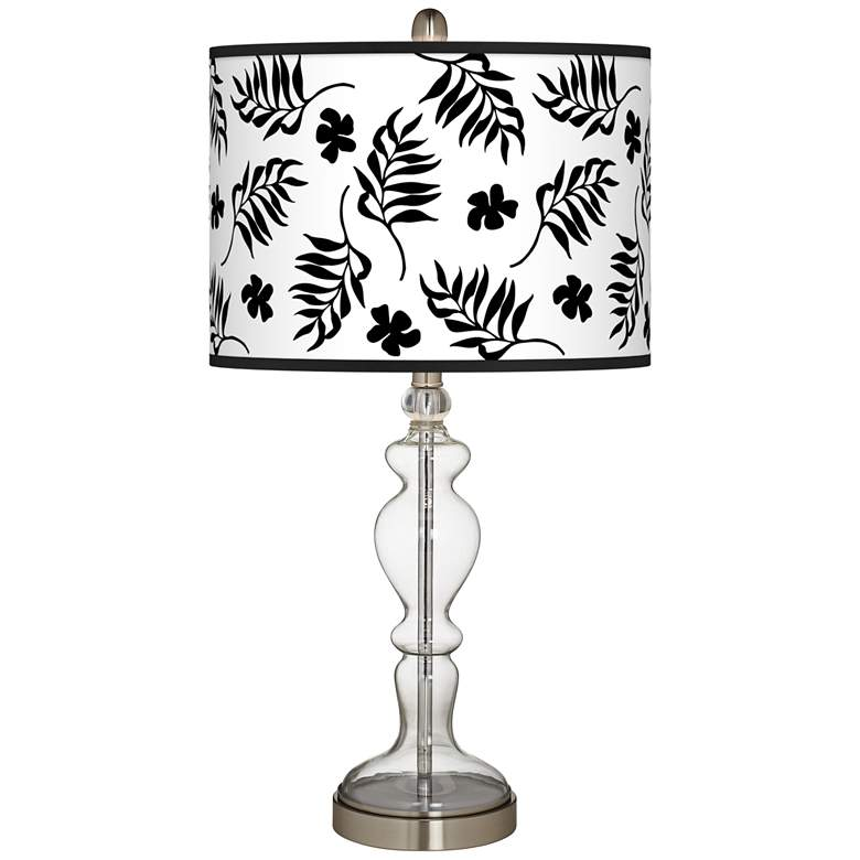 Floral Fern Giclee Apothecary Clear Glass Table Lamp