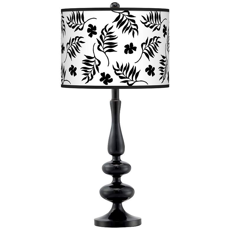 Floral Fern Giclee Paley Black Table Lamp