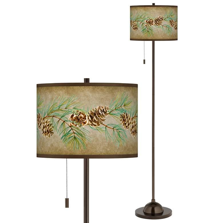 Cone Branch Giclee Glow Bronze Club Floor Lamp