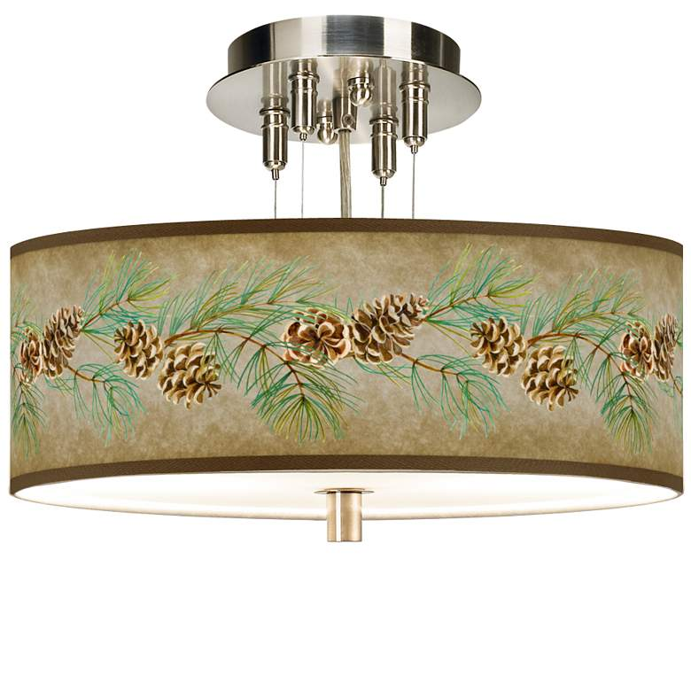 """Cone Branch Giclee 14"""" Wide Ceiling Light"""
