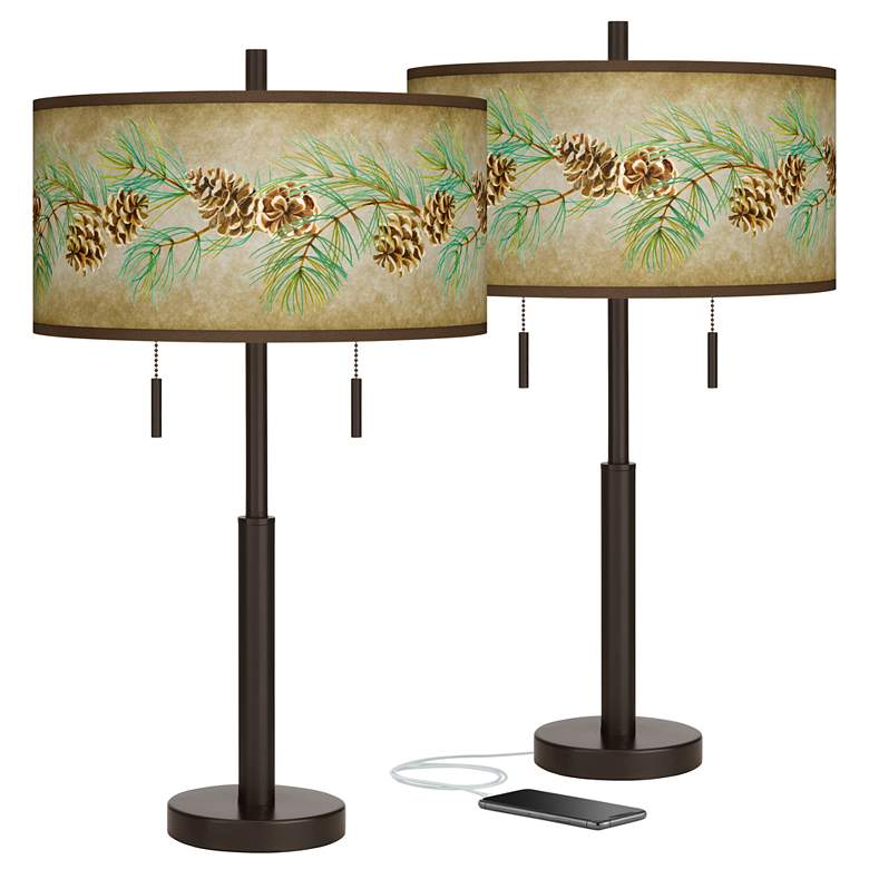 Pine Cone Branch Bronze USB Table Lamps Set of 2