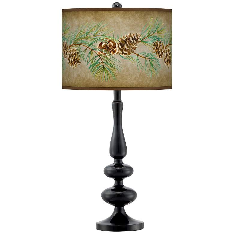 Cone Branch Giclee Paley Black Table Lamp