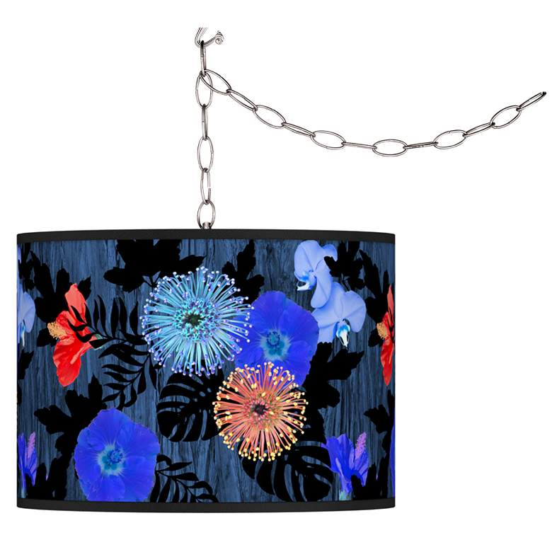 Midnight Garden Giclee Glow Plug-In Swag Pendant