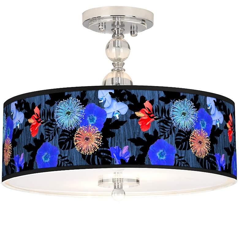 "Midnight Garden Giclee 16"" Wide Semi-Flush Ceiling Light"