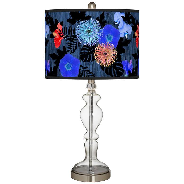Midnight Garden Giclee Apothecary Clear Glass Table Lamp