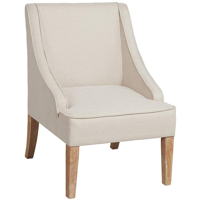 Dixon Ivory Fabric Swoop Arm Chair