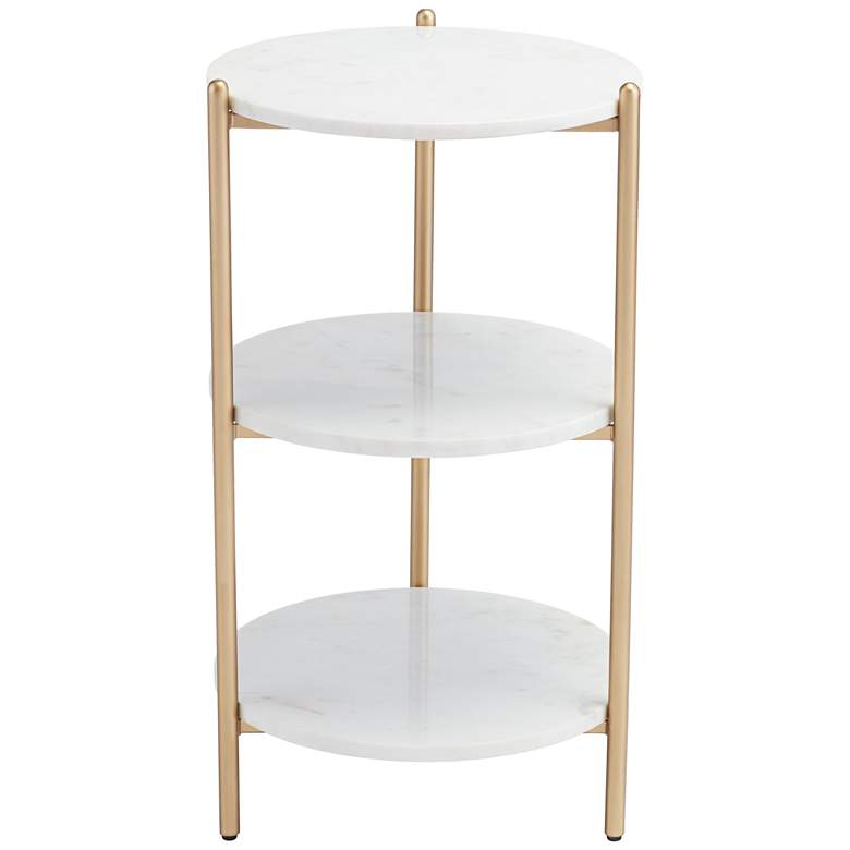 """Jupitor 28 1/2"""" HIgh White Marble Accent Table"""