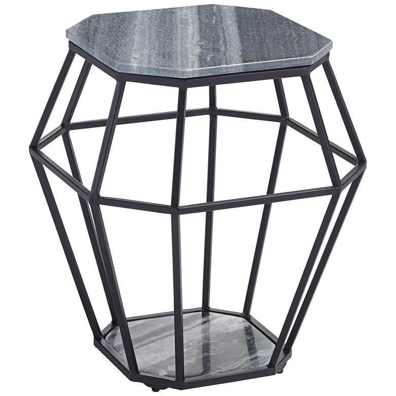 Tocca Octagonal Black Marble Accent Table