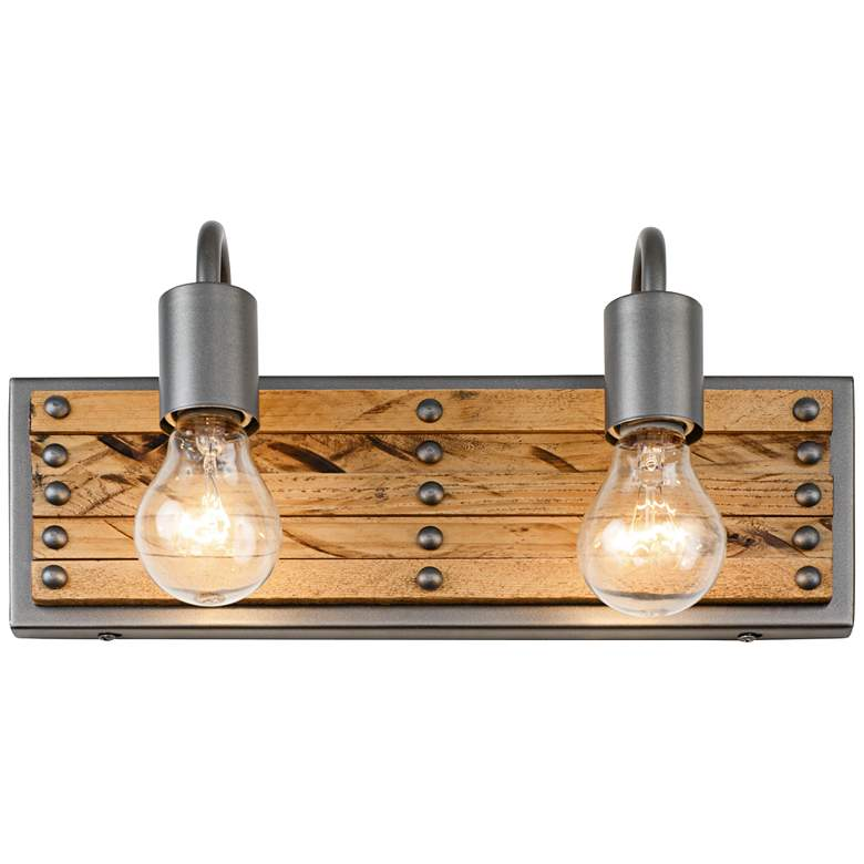 """Ella Jane 6 1/2"""" High New Bronze and Wood 2-Light Wall Sconce"""
