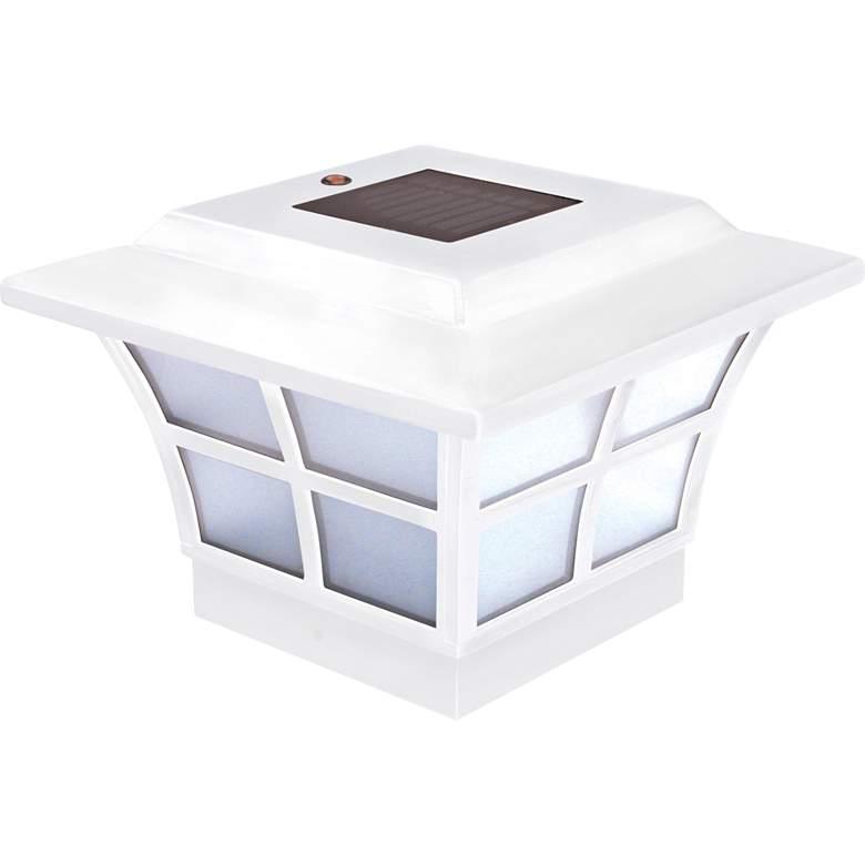 "Prestige 4""x4"" White Vinyl Outdoor LED Solar Post Cap"
