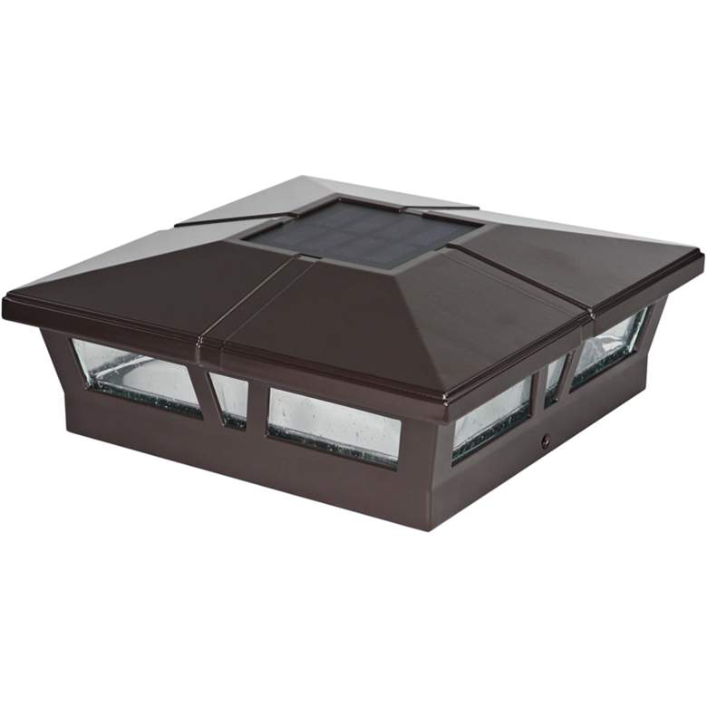 "Cambridge 6""x6"" Brown Aluminum Outdoor LED Solar Post Cap"