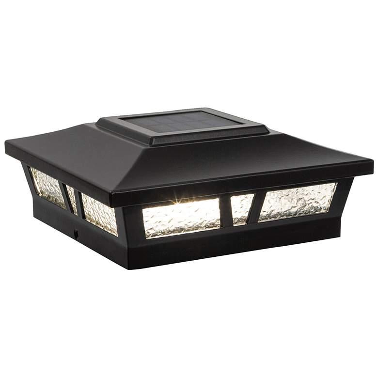 """Oxford 6""""x6"""" Black Aluminum Outdoor LED Solar Post Cap"""