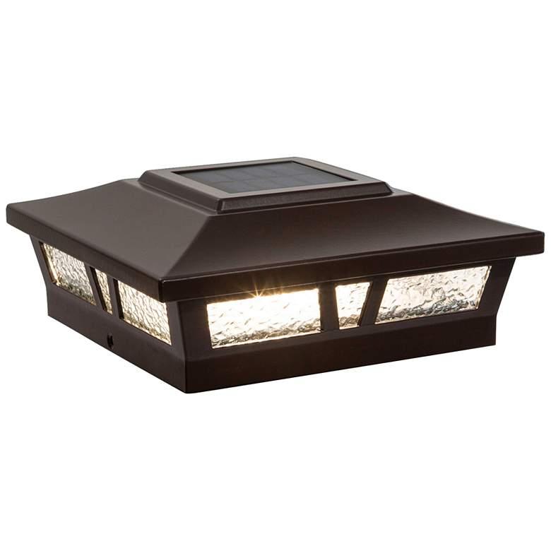 "Oxford 6""x6"" Brown Aluminum Outdoor LED Solar Post Cap"