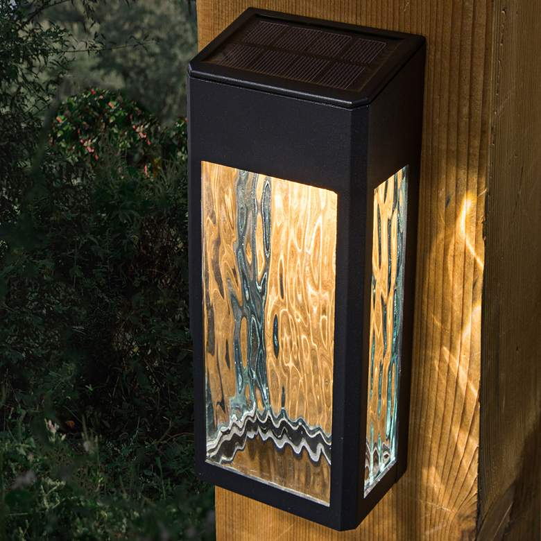 "Lancaster 8""H Black Solar LED Deck and Wall"