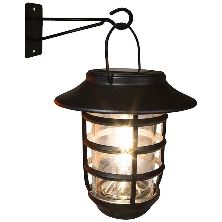 "Nottingham 6 3/4""H Black LED Solar LED Hanging Coach Light"