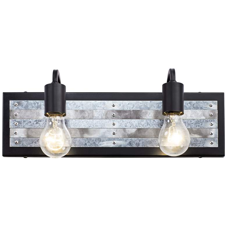 """Abbey Rose 6"""" High Black and Galvanized Steel 2-Light Wall Sconce"""