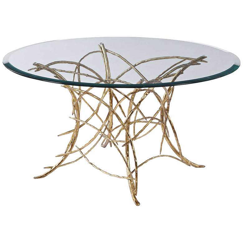 "Uttermost Amoret 36"" Wide Gold Leaf Branch Coffee Table"