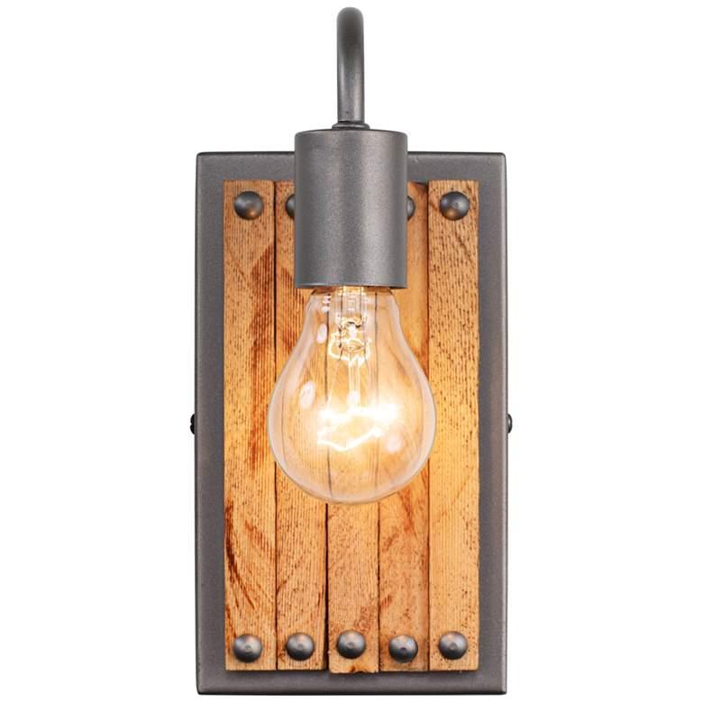 "Varaluz Ella Jane 10""H New Bronze and Honey Wood Wall Sconce"
