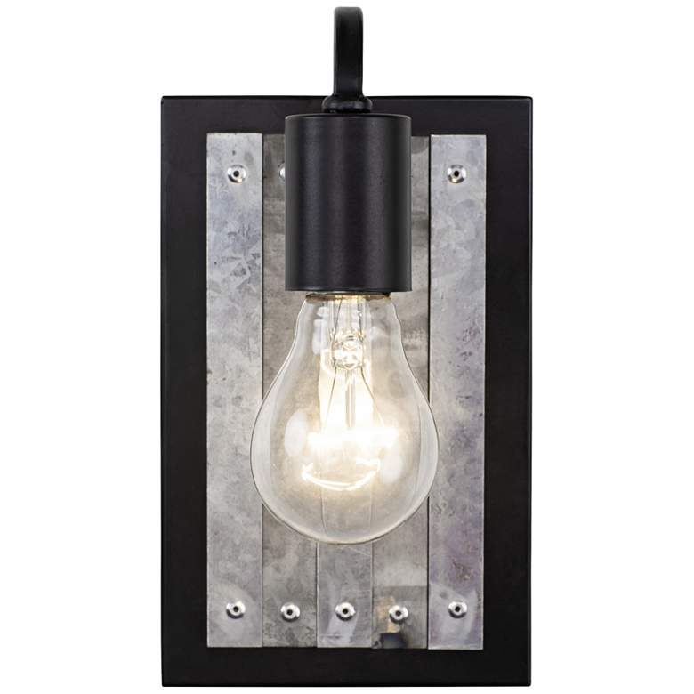 """Abbey Rose 9"""" High Black and Galvanized Steel Wall Sconce"""