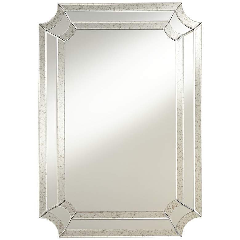 "Alli 28"" x 40"" Antiqued Edge Cut Corner Wall Mirror"